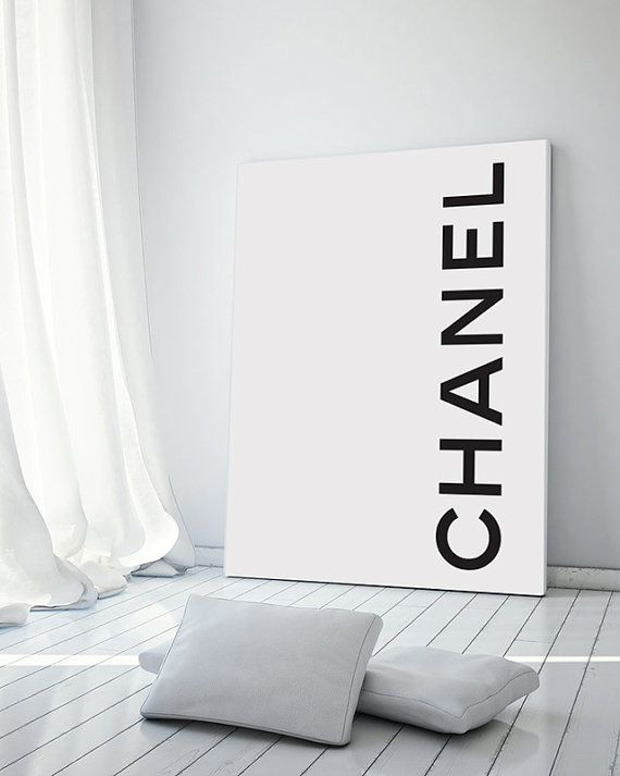 Coco Chanel Logo Poster - PRINTABLE FILE. Minimal Monochrome Chanel Poster. Coco Chanel Fashion Print. Dorm Room Wall Art. Girly…