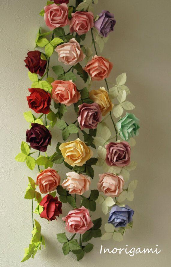 """Origami """"Fine"""" Rose Vine Garland / Home Decor / Party Decor and-or Accessory e.t.c."""