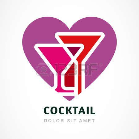 Astratto logo modello di progettazione. Cocktail colorato a forma di cuore. Concetto per il menu bar, partito, bevande alcoliche, vacanze celebrazione, romantico, San Valentino. photo