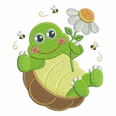Cute Turtle embroidery design from embroiderydesigns.com