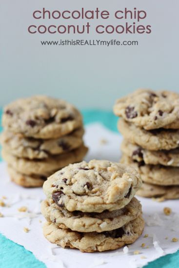 Chocolate chip coconut cookies -- great fresh from the oven or freezer! #cookie #chocolatechip #coconut via isthisreallymylife.com