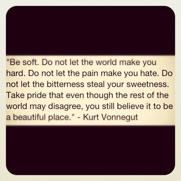 """""""Be soft.  Do not let the world make you hard.  Do not let the pain make you hate.  Do not let the bitterness steal your sweetness.  Take pride that even though the rest of the world may disagree, you still believe it to be a beautiful place."""" --Kurt Vonnegut"""