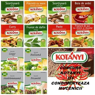 Trei premii constand in pachete cu condimente: http://www.caietulcuretete.com/2013/03/concurs-kotanyi-iti-condimenteaza.html