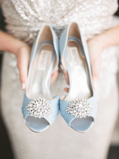 Baby blue shoes: http://www.stylemepretty.com/illinois-weddings/chicago/2015/07/01/elegant-spring-wedding-at-bridgeport-art-center/   Photography: Kristin La Voie - http://kristinlavoiephotography.com/