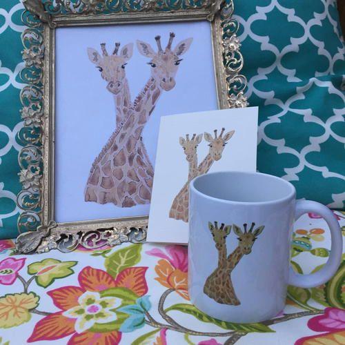 Neck Tied Giraffes   haylily com  FlourishYourLife  HaylilyDesigns  coffee  mug  notecard  artprint