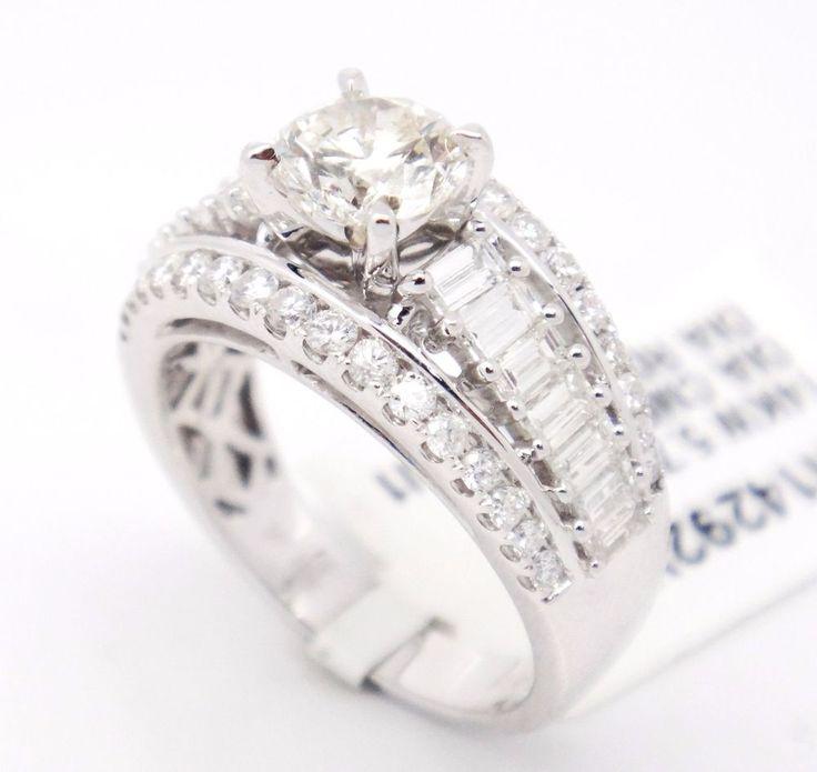 Bold 14k White Gold SI1/H 2.52CT, Diamond Pave Triple Row Engagement Ring,6.5 #TheDiamondGuru #engagement #Engagement
