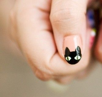 Meow: Cat Nails Art, Nails Design, Nailart, Black Cats, Beautiful, Nails Polish, Blackcat, Nail Art, Halloween Nails