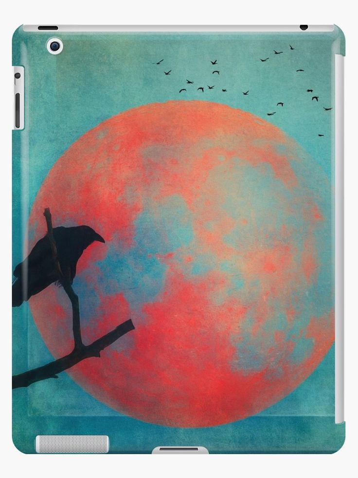 A raven perched on a branch with a rusty red full moon in the background • Also buy this artwork on phone cases, apparel, stickers, and more.