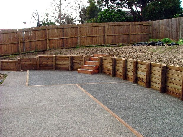 Retaining Wall Wooden Sleepers   Google Search