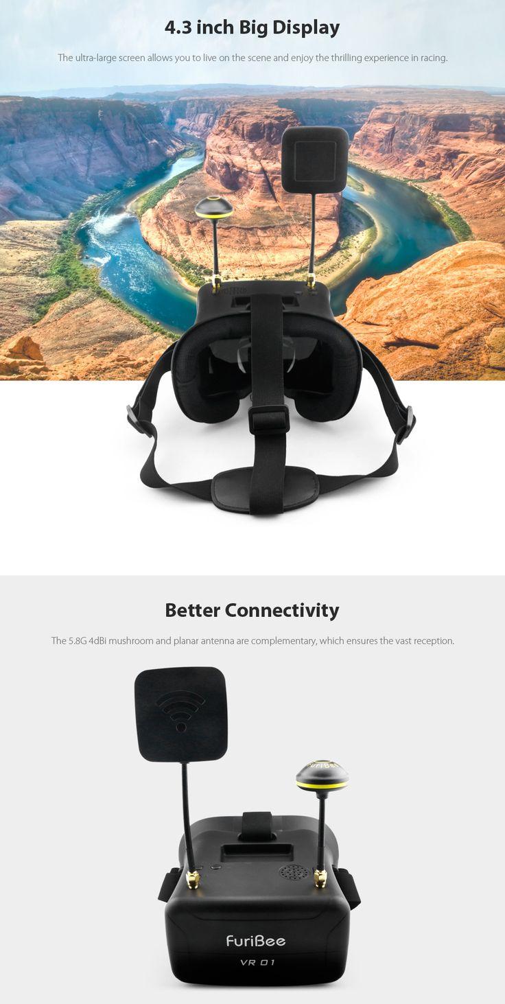 FuriBee VR01 FPV Goggles 5.8G 40CH Dual Antennas 4.3 inch 480 x 272px Display