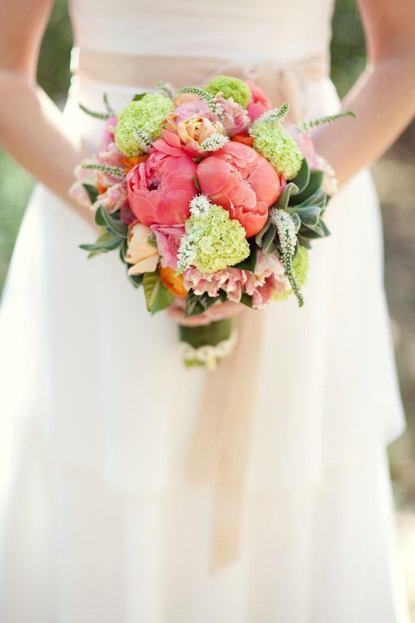 bridal bouquet of coral charm peonies, peach and blush parrot tulips, green vibernum, white veronica, fuzzy succulents, orange and pale pink ranunculas...finished in olive green velvet with a cream modern dot trim...