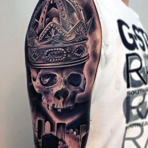 Shoulder Tattoos For Men - Cool Skull With Crown