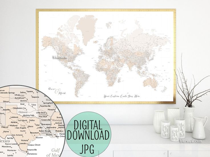Custom quote - highly detailed world map printable with cities, capitals, countries, US States... labeled. Light earth tones in white background. #CustomArtPrint #CustomMapPrint #custom #CustomMap #CustomDesignedPrintable #CustomPrintable #CustomMapPoster #ArtPrint #CustomArtwork #BlackAndWhite