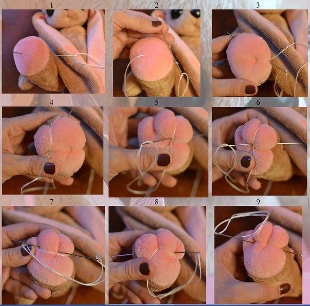 Вводим кукольную иглу в точку 1 и выводим в точке 2 (рис1). Вставляем иглу в петлю и затягиваем нить (рис 2).