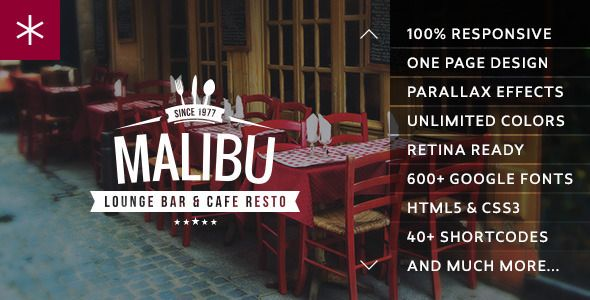 Malibu One Page Lounge Bar & Cafe Resto WP Theme