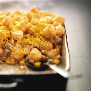 Cowboy Casserole Recipe -This quick and creamy Tater Tot bake is great comfort food, especially on a cold night. —Donna Donhauser, Remsen, New York