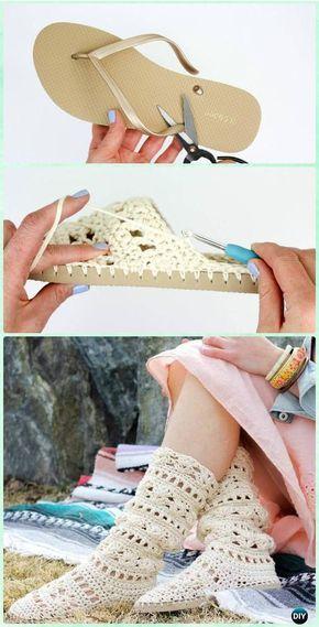 Crochet Coachella Flip Flop Soled Lace Boots Free Pattern- #Crochet High Knee Crochet Slipper Boots Patterns