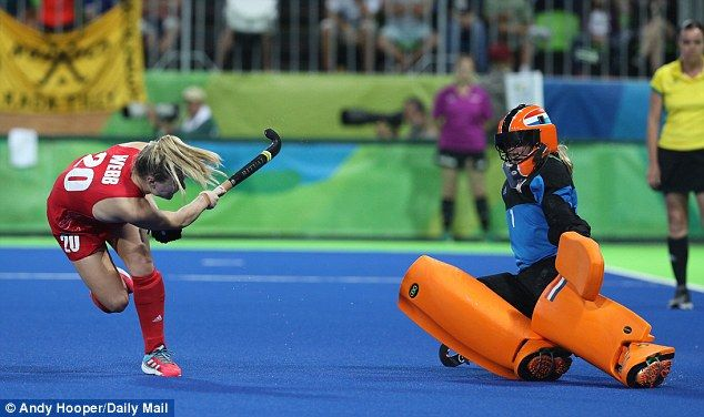 Great Britain's Holly Webb keeps her cool to fire the deciding penalty past Holland goalkeeper Joyce Sombroek in the women's hockey final at Rio 2016