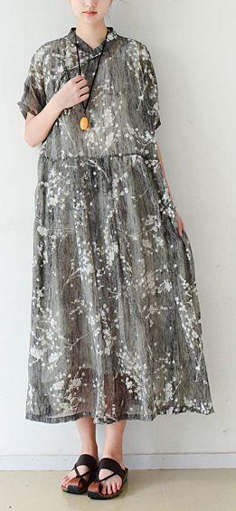 992d5cbf93 Elegant gray silk Long Shirts top quality Cotton Chinese Button Traveling  summer Dress