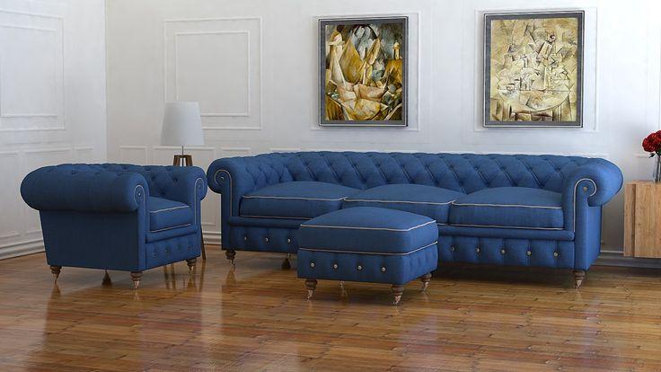 4 Seater Blue Wool Chesterfield Sofa | UK Handmade Chesterfields | Modern Designer Chesterfield Furniture | Velvet Leather Wool Linen Fabric Chesterfield Sofas: Amazon.co.uk: Kitchen & Home
