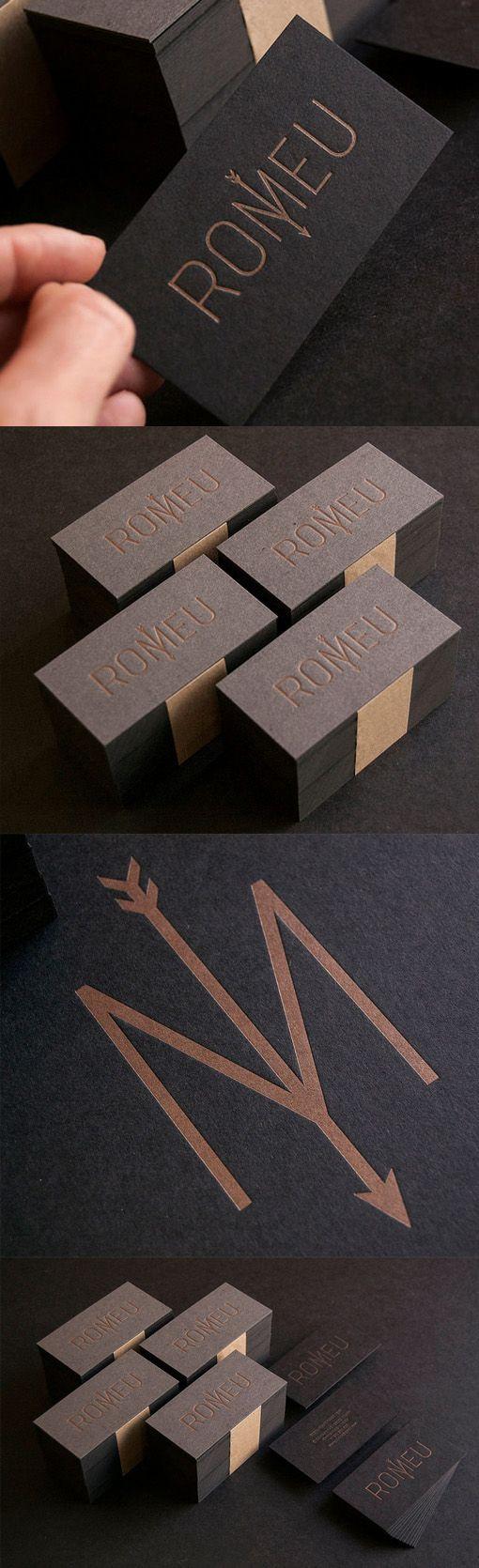 Sleek Black And Copper Ink Letterpress Business Card Design