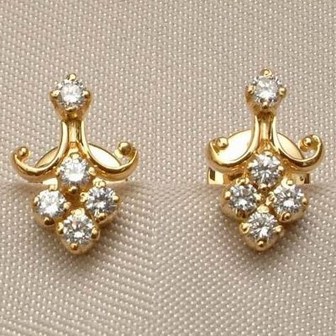 Real Certified Diamond 0.20 ct Solid 18k Gold Earrings
