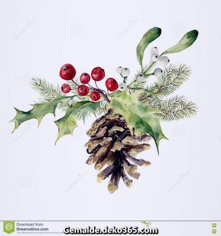 Aquarell Tannenzapfen Weihnachten Dekor Pin Konus Weihnachtsbaum