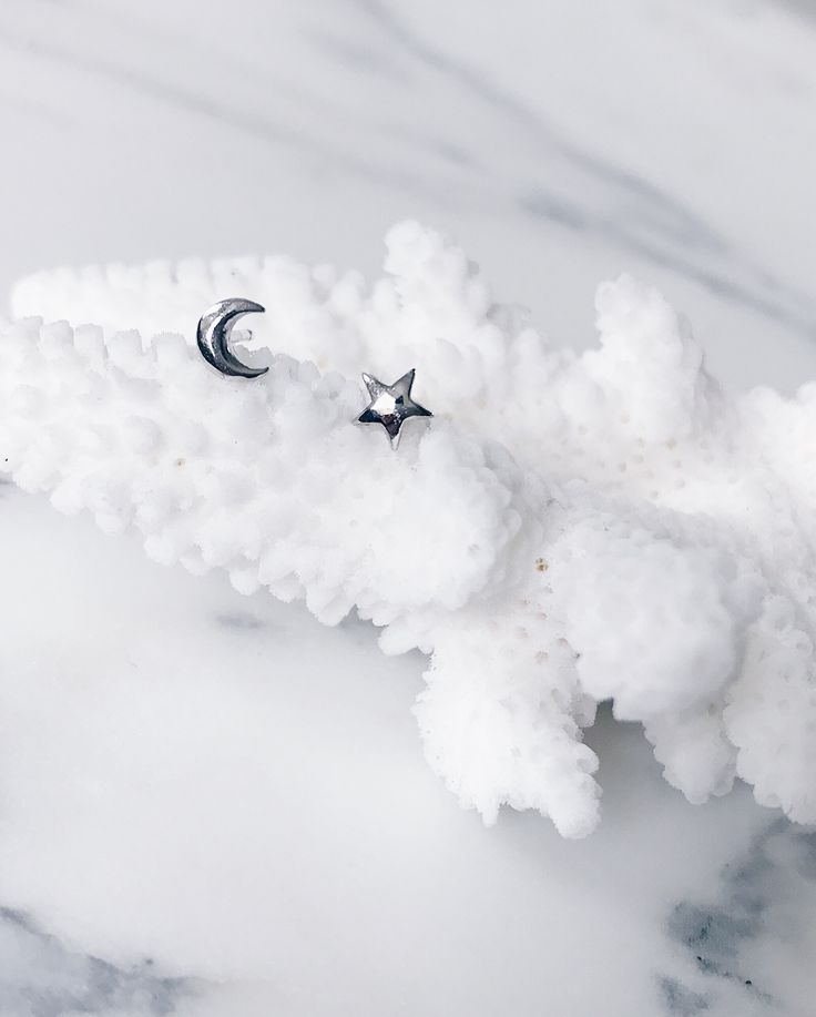 Like a silver star and moon resting on fluffy clouds - Micro size star and moon ear studs resting on a white coral - beautiful jewellery display - Moody and graceful - CLICK TO SHOP NOW.