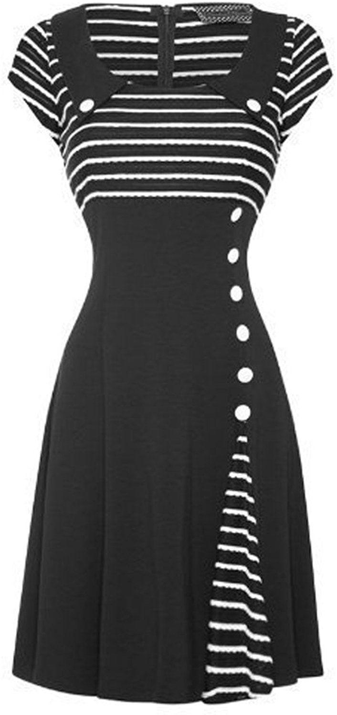 7988776e15f Voodoo Vixen New Womens Black White 50s 60s Flared Party Work Career Dress   Amazon.co.uk  Clothing
