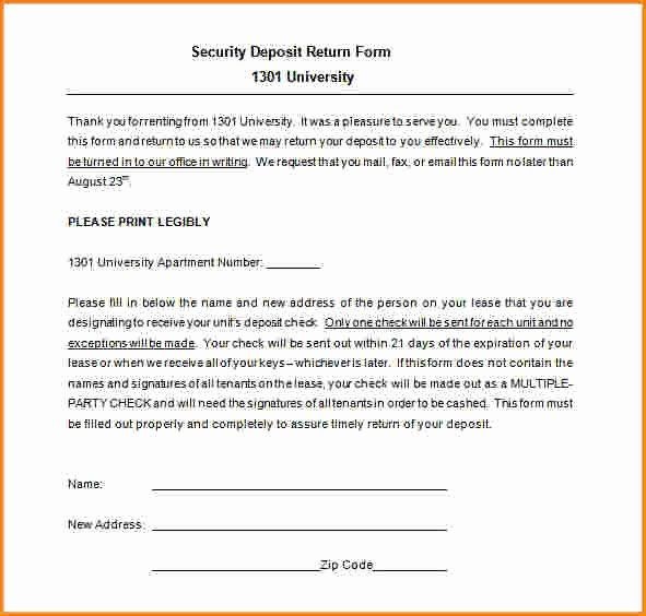 Security Deposit Return Form Template Unique 7 Security Deposit Receipt Template Receipt Template Invoice Template Templates