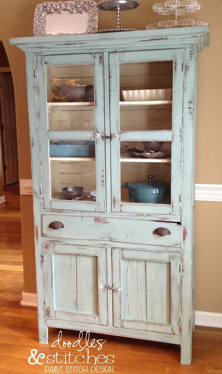 "Dorotha Pie Safe ""Duck Egg Blue"" Annie Sloan Chalk Paint ♥ white on the inside helps to display bakeware"