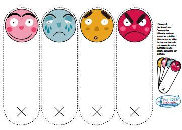 L'éventail des émotions L'éventail représente les 4 émotions suivantes : joie - tristesse - étonnement - colère J'ai l'ai trouvé chez Hop'Toys. L'éventail des émotions chez Hop'Toys Toujours chez Hop'Toys, j'ai trouvé les masques des émotions (colère,...