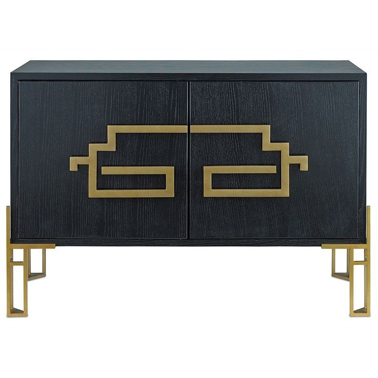 Lustrous Contemporary Gold fretwork lends Asian flair to this sideboard, a fashionable chinoiserie-inspired piece. Sporting a solid steel frame, this wooden cabinet is finished in an inky Caviar Black