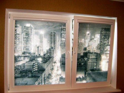 Рулонные фото жалюзи на пластиковые окна | Окно, Жалюзи, Декор