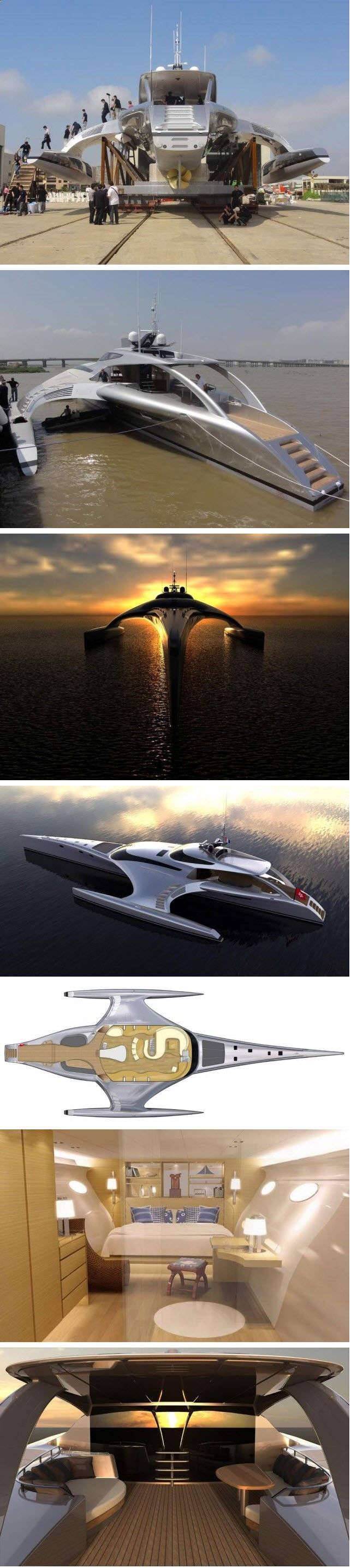 After five years of planning and construction a futuristic Trimaran superyacht Adastra by McConaghy boats in Zhuhai China, described as one of the most stunning of its kind, has been launched into the Pearl River in China. The 42.5 m luxury superyacht built for Hong Kong couple Anto and Elaine Marden, priced at 15 million USD, weighs 52 tons, has a range of 4000 nautical miles (at 17 knots) and a maximum speed of 22.5 knots.