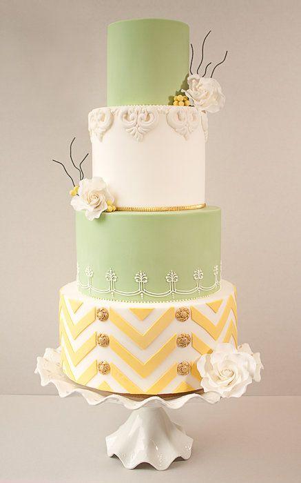 Lemon  Lime Chevron Wedding Cake
