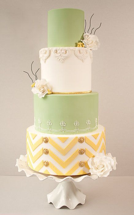 Lemon  Lime Chevron Wedding Cake