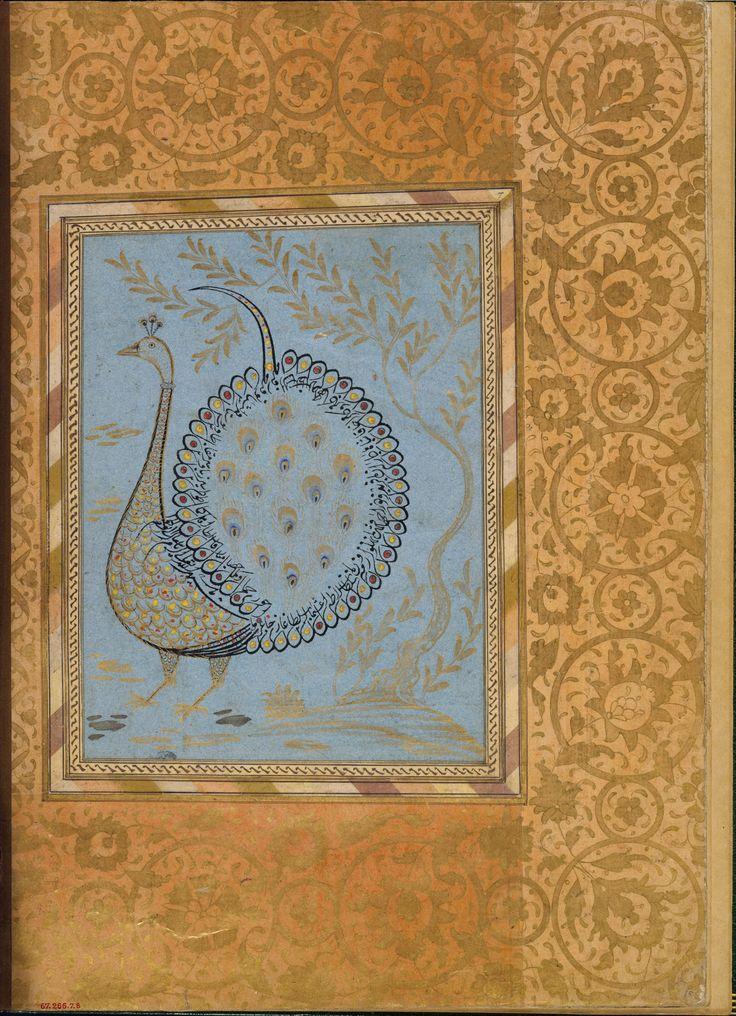 """Calligraphic Composition in Shape of Peacock"", Folio from the Bellini Album | Islamic | The Metropolitan Museum of Art"