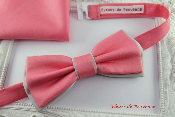 Set Noeud Papillon double et pochette costume Tissu Corail et