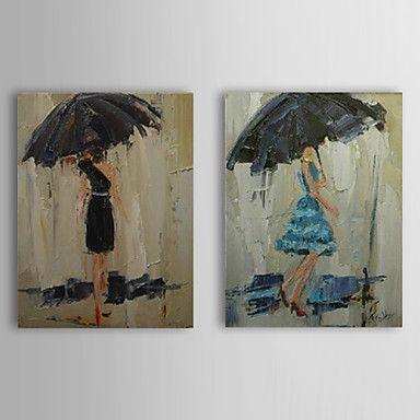 People Rain Oil Painting - Set of 2