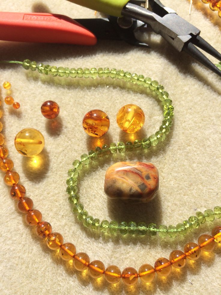 Lovely Amber and Peridot on it's way to being a necklace with an Agate pendant #design #unique #create #make #GGJewellery