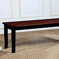 Dover Transitional Bench Withwooden Seat, Cherry & Black Finish