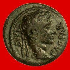 Roman Empire - Augustus (27 BC - AD 14) bronze semis (2,97 g, 19 mm). Lugdunum 10 B.C. IMP CAESAR / Eagle. Rare coin.