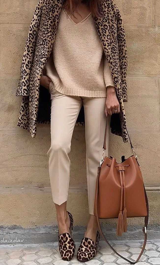 OUTFIT: | Beige Sweater-Shirt + Khaki Trousers + Brown or Caramel Purse + LEOPARD Coat AND Matching LEOPARD Flats!