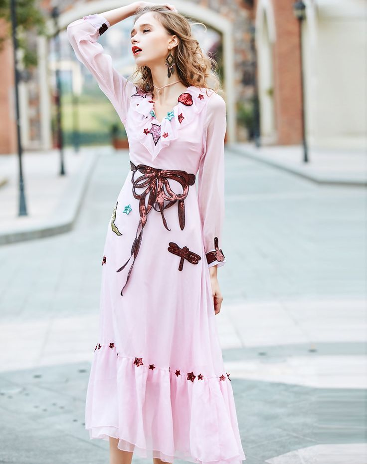 #VIPme Pink V Neck Sequin Party Maxi Dress ❤ Get more outfit ideas and style inspiration from fashion designers at VIPme.com.