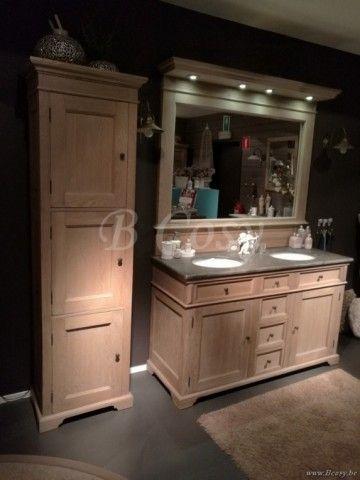 ll-bath-364w-landelijke retro stijl badkamerkast met led verlichting en spiegelopbouw in eik