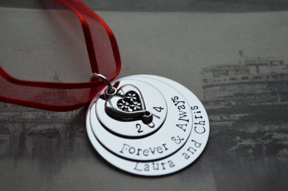 Custom hand stamped metal Valentines ornament red by lauriebale, £10.00
