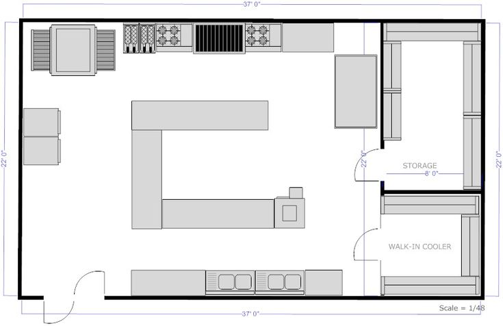 kitchen layouts with island | Restaurant Kitchen C Island Floor Plan Example - SmartDraw