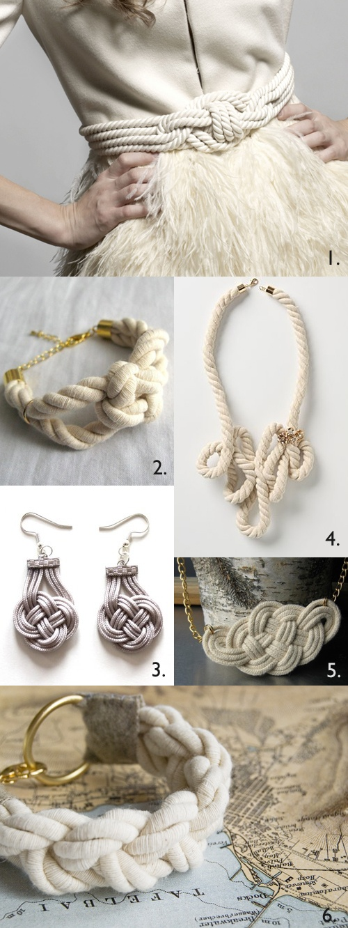 Some cotton clothes line ought to do for a start. Nautical/decorative knots as a wearable