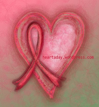 Heart with Cancer Ribbon Tattoos   heArt #70 Pink Ribbon Revisited   heArt-a-Day